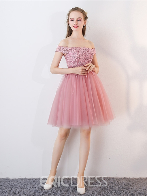 Ericdress Off The Shoulder Applique Short A Line Homecoming Dress