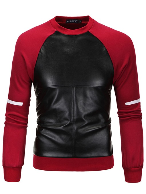 Ericdress Round Collar Patchwork Slim Men's Hoodie