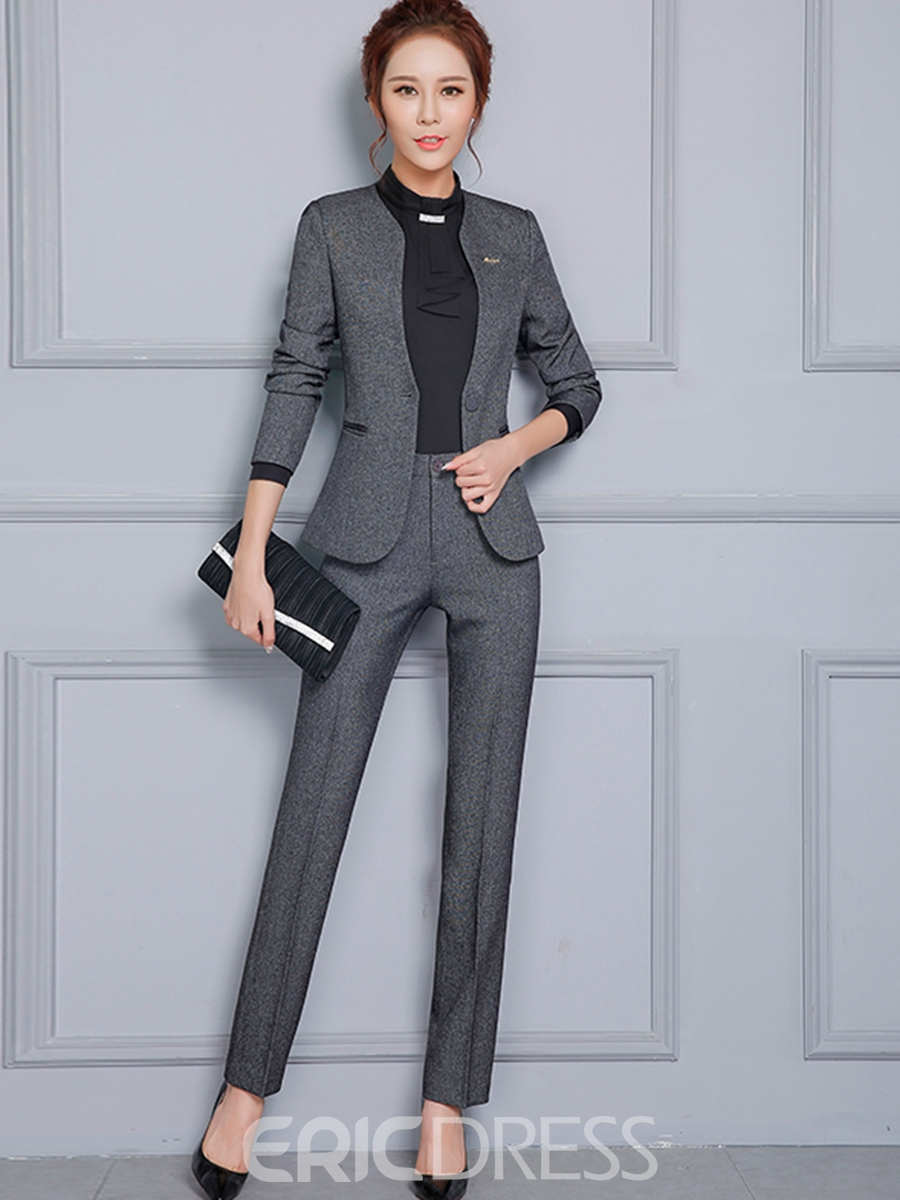 Ericdress One Button Plain Blazer and Pants Women's Suit