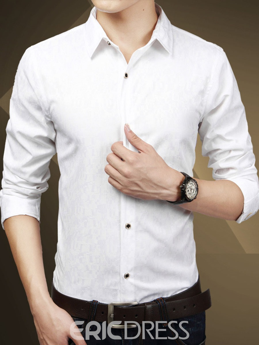 Ericdress Long Sleeve Vogue Print Slim Men's Shirt