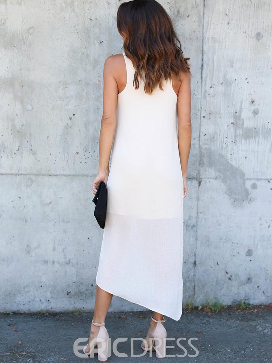 Ericdress Solid Color Scoop Asymmetrical Maxi Dress