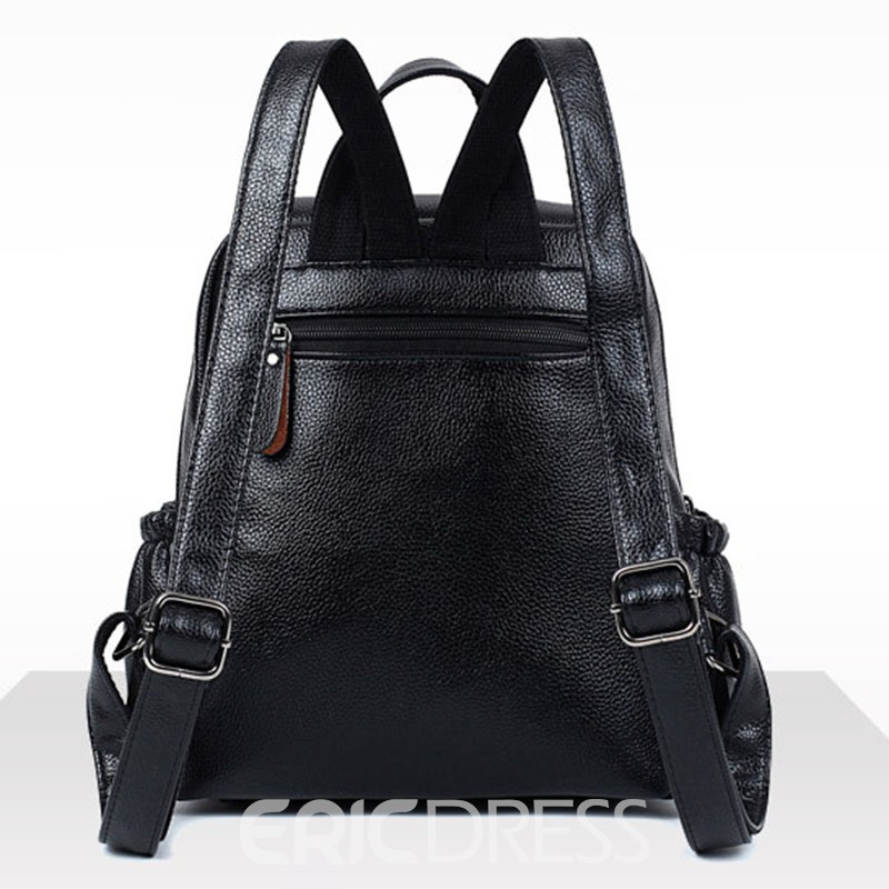 Ericdress Litchi Stria Solid Color Women Backpack