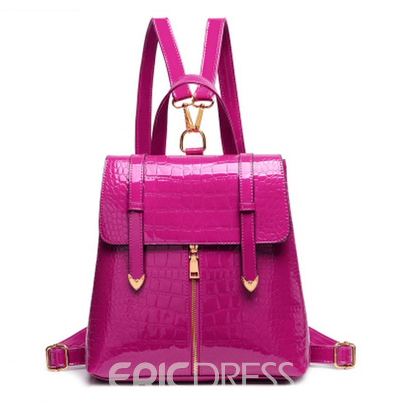 Ericdress Patent Leather Croco-Embossed Backpack