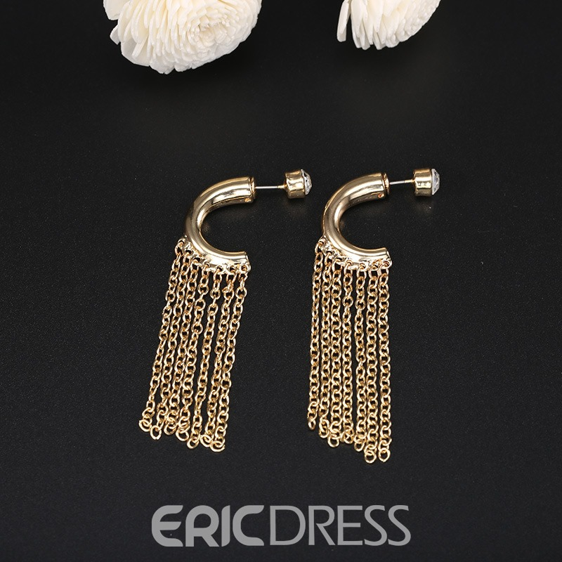 Ericdress Hot Alloy Diamante Tassle Drop Earring