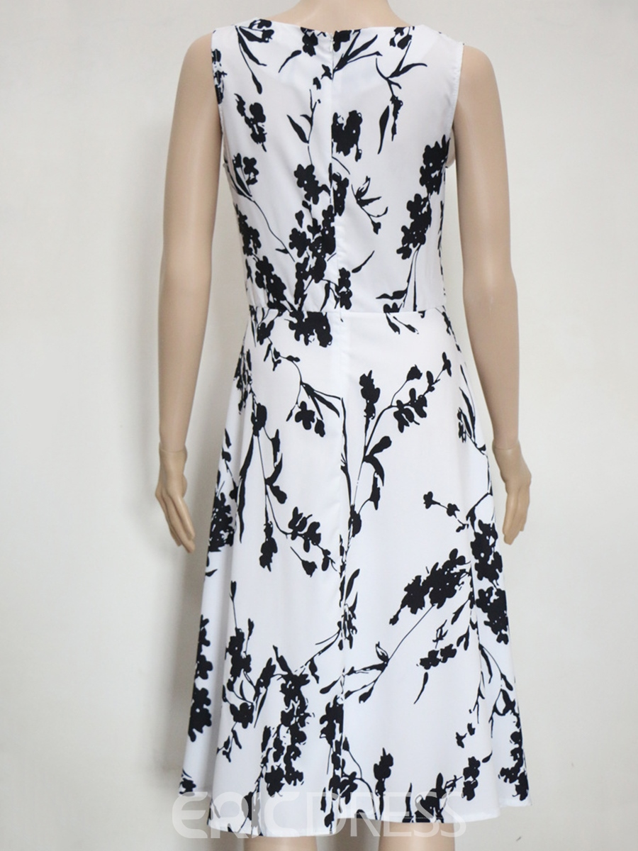 Ericdress Sleeveless Print Scoop A Line Dress