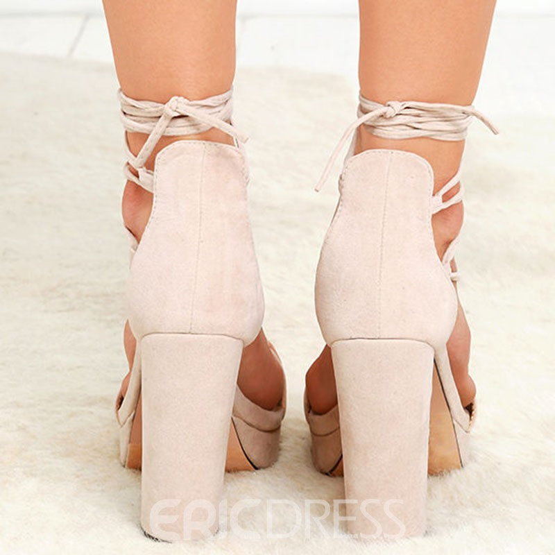 Platform Lace-Up Open Toe Heel Sandals