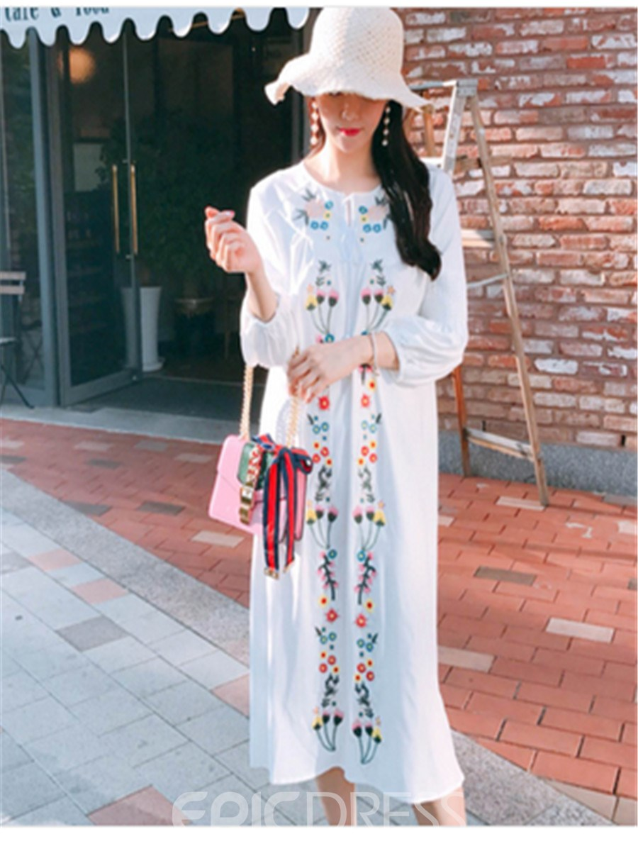 Bohoartist Mid-Calf Floral Embroideried Women's Day Dress