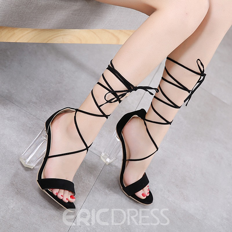 Ericdress Open Toe Lace-Up Plain Chunky Sandals