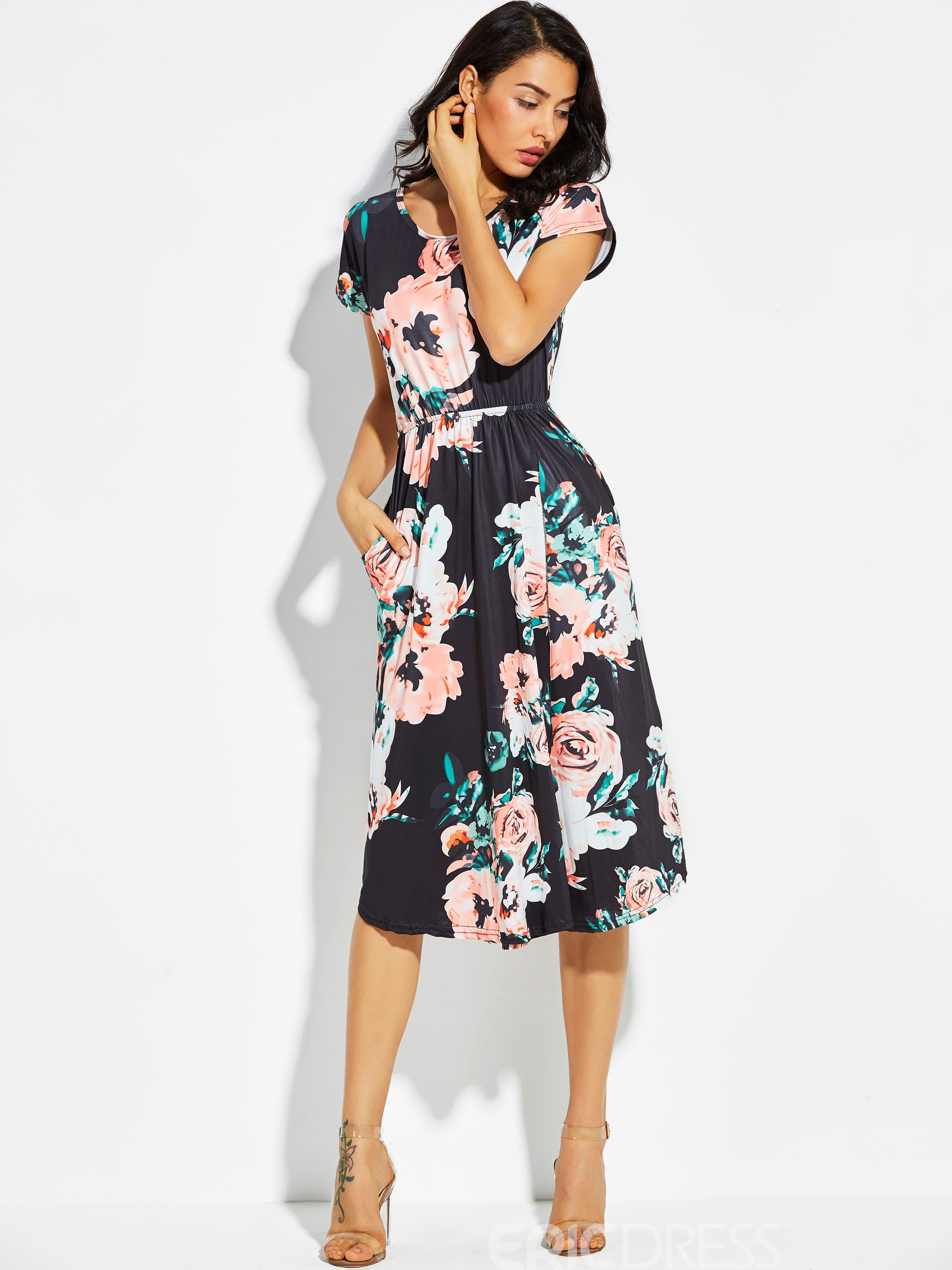 Ericdress Floral Blooming Printed Round Neck A Line Dress
