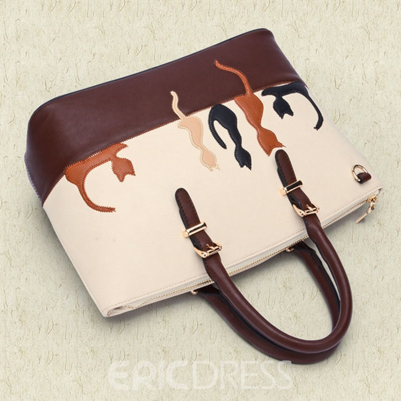 Ericdress Color Block Cat Kitty Pattern Women Handbag