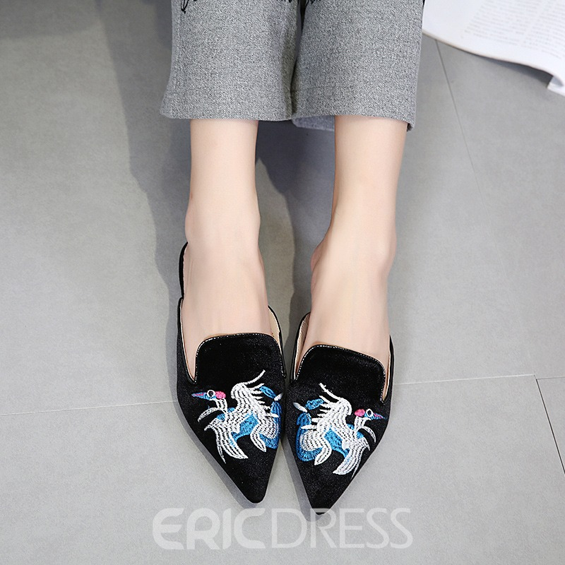 Ericdress Animal Embroidery Mules Shoes