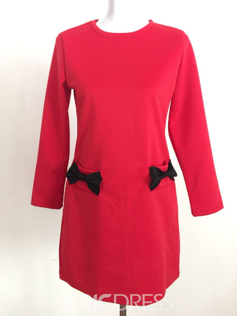 Ericdress Bowknot Pocket 3/4 Sleeve Casual Dress