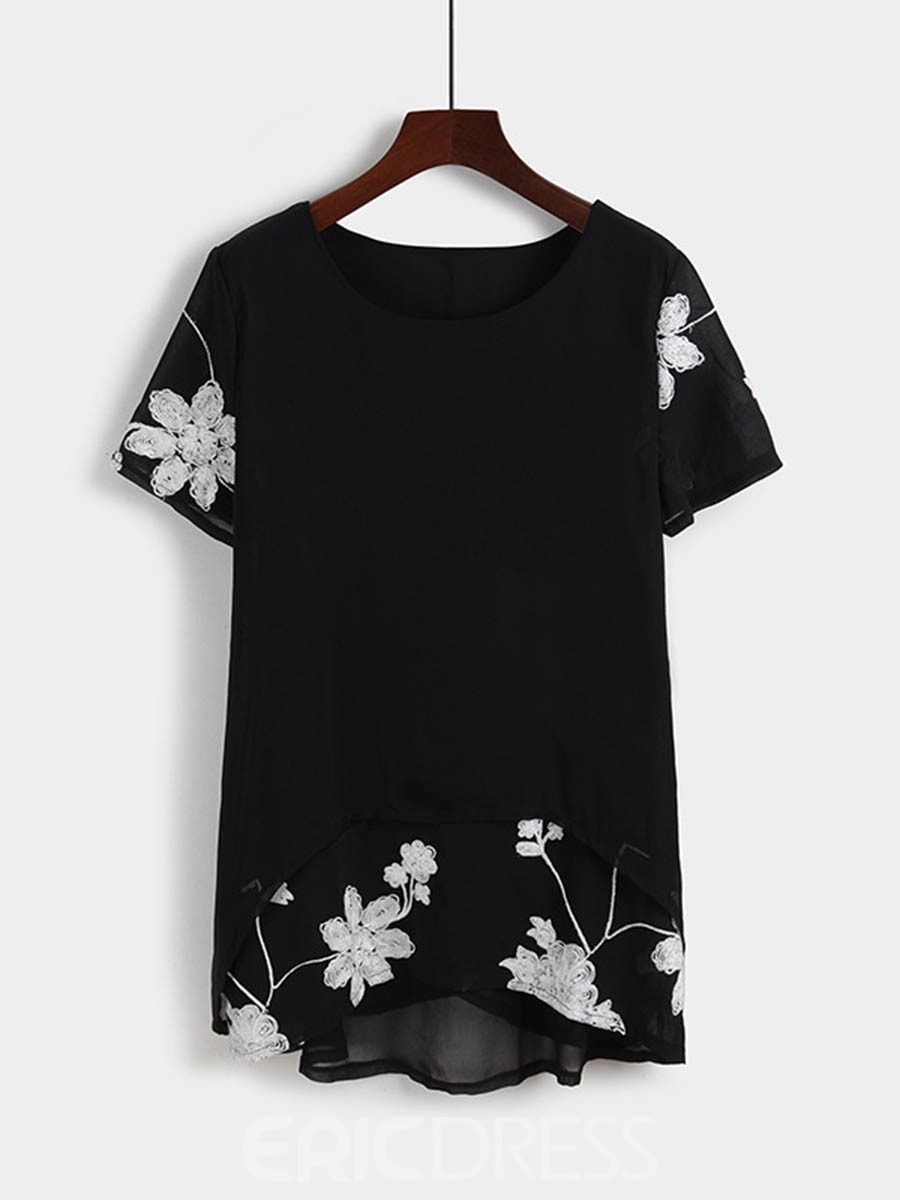 EricdressFloral Embroidery Mid-Length Blouse