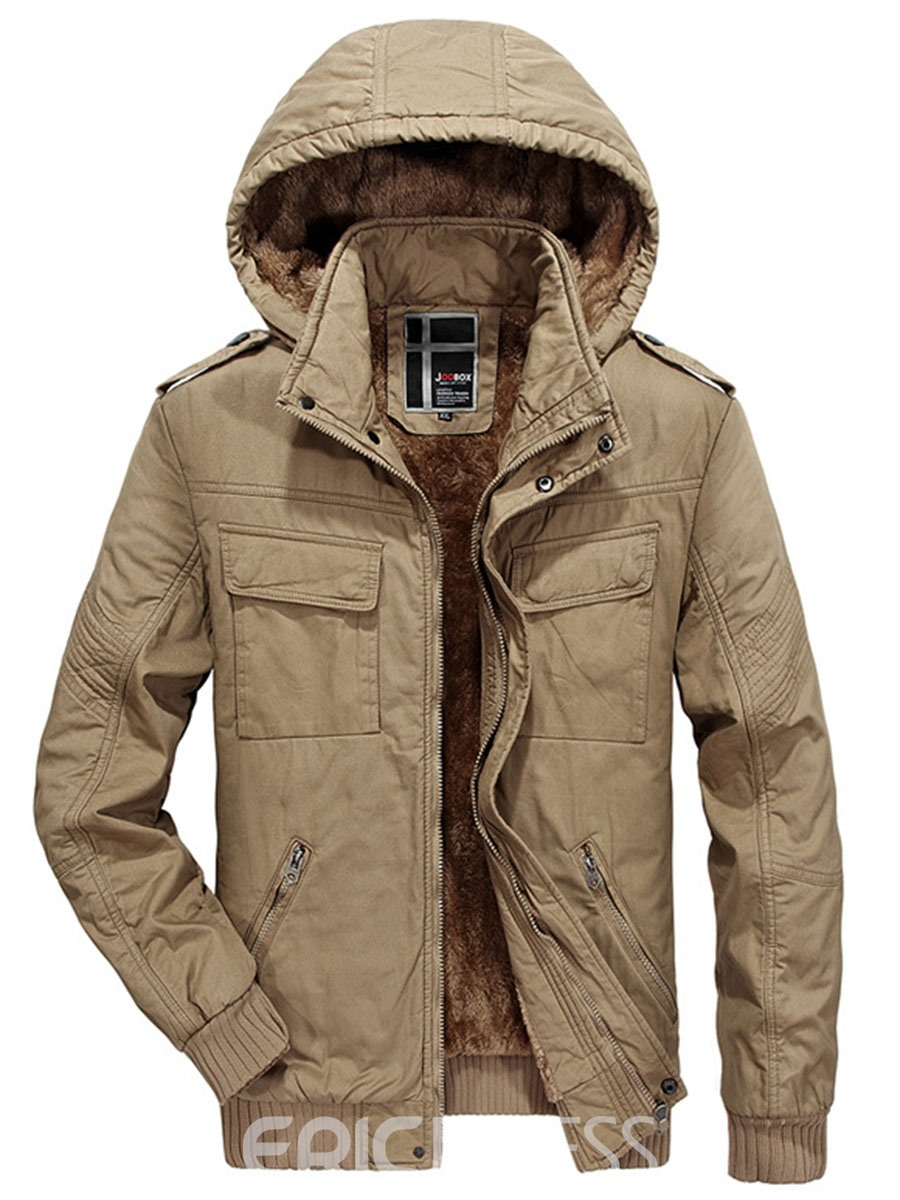 Ericdress Zipper Solid Color Vogue Men's Warm Coat