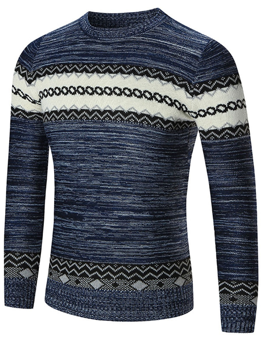 Ericdress Color Block Jacquard Regular Crew Neck Men's Sweater