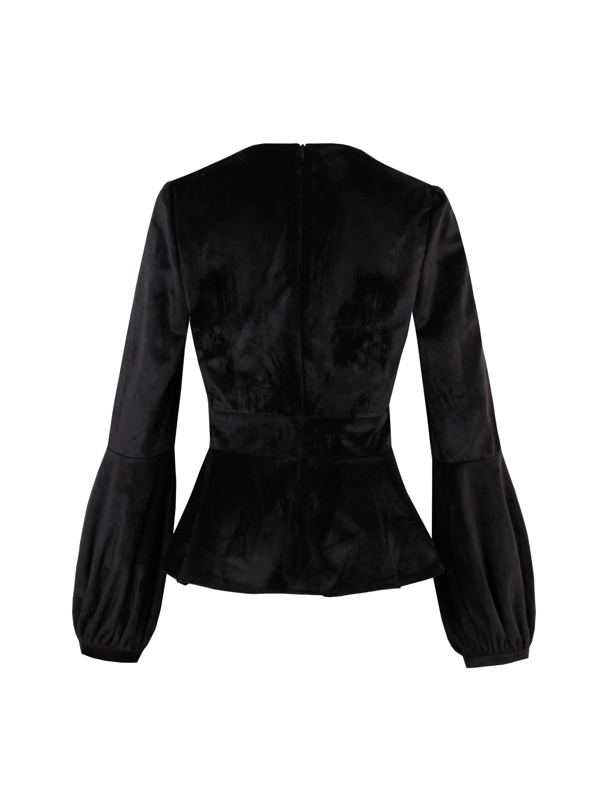 Ericdress Wrapped Lantern Sleeve Velvet Blazer