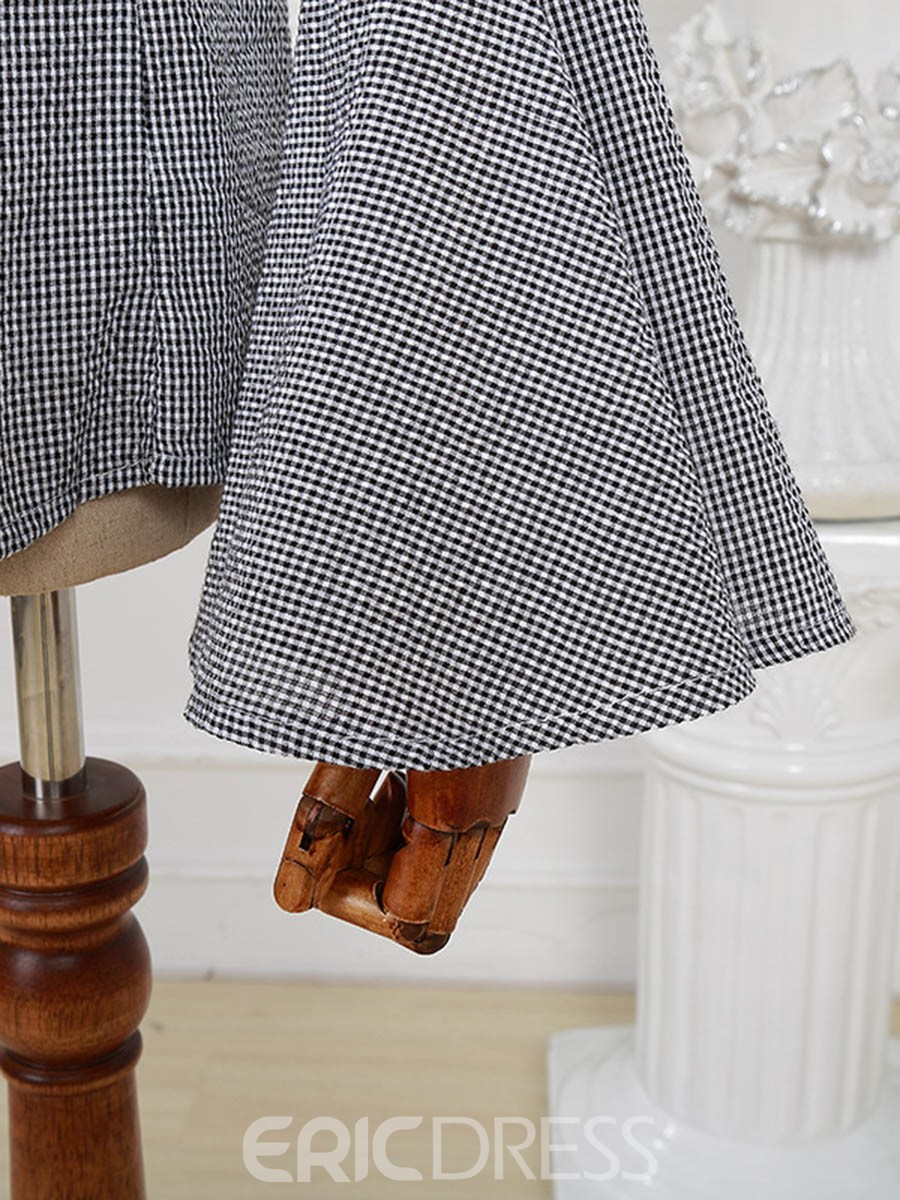 Ericdress Slash Neck Plaid Bell Sleeve Blouse