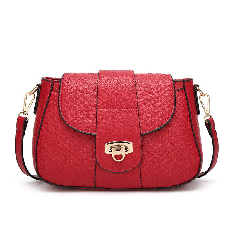 Ericdress Croco-Embossed Saddle Crossbody Bag