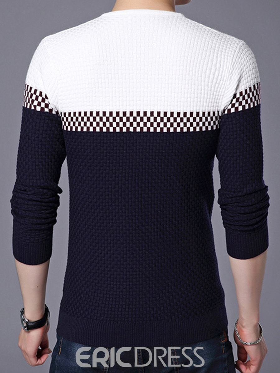Ericdress Color Block V-Neck Vogue Men's Sweater