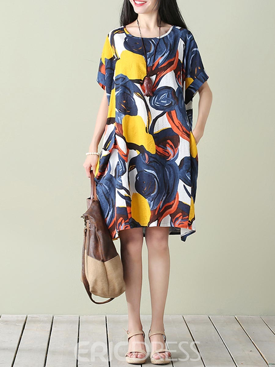 Ericdress Print Scoop Half Sleeves Casual Dress