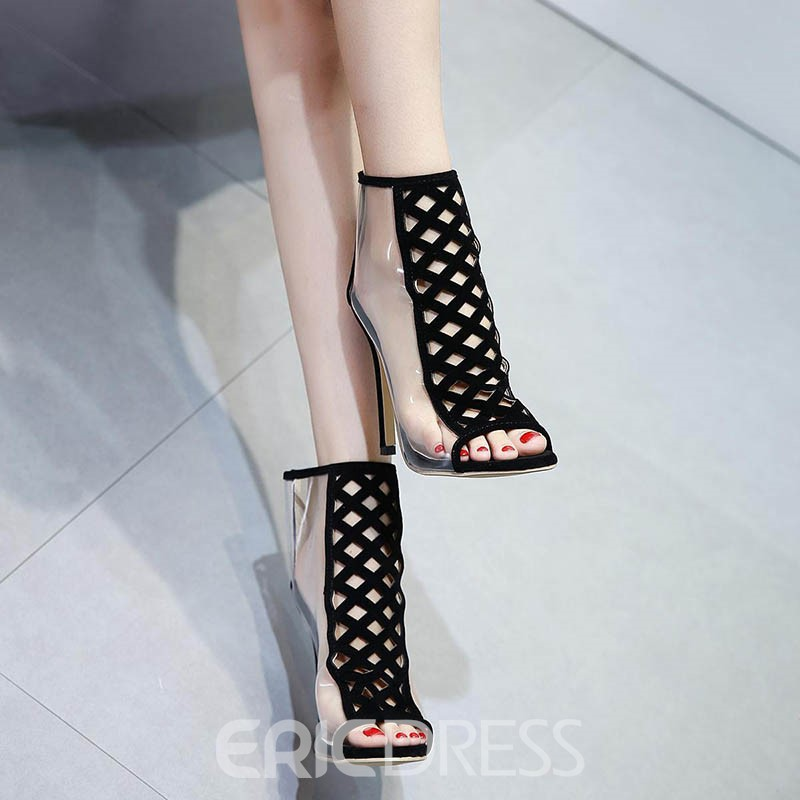 Ericdress Hollow Peep Toe Patchwork Stiletto Sandals