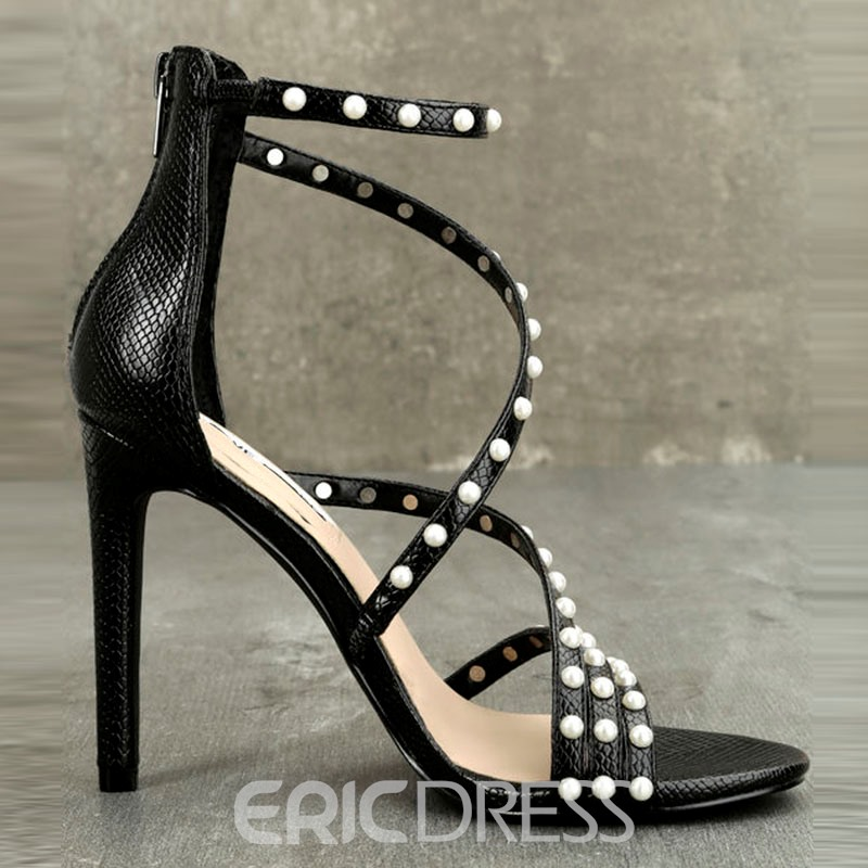 Ericdress Open Toe Plain Stiletto Sandals with Beads