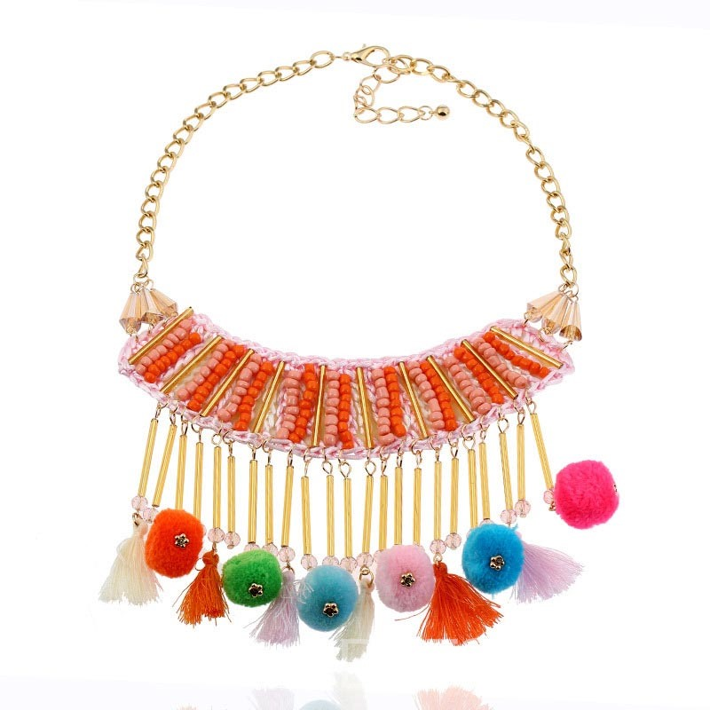 Ericdress European Style Colored Bead Tassel Pendant Necklace