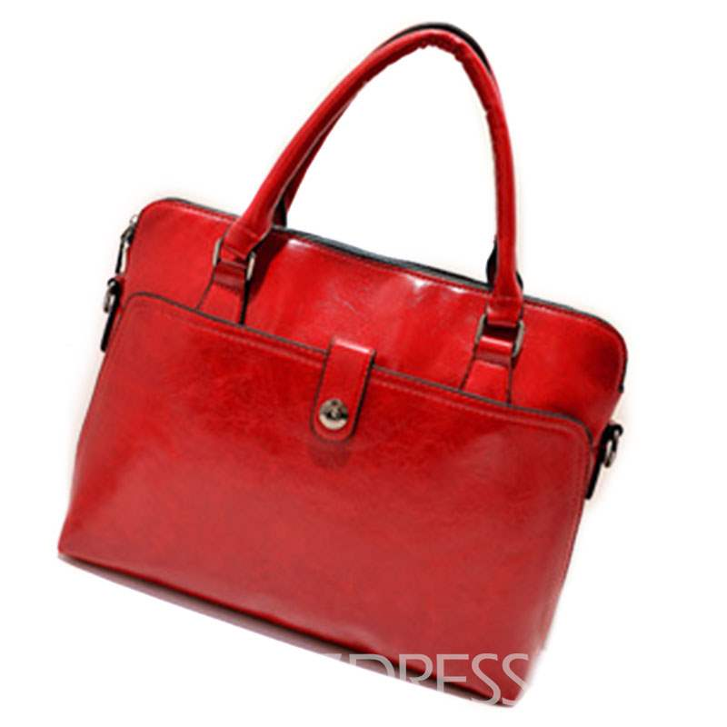 Ericdress Simple Solid Color Zipper Handbag