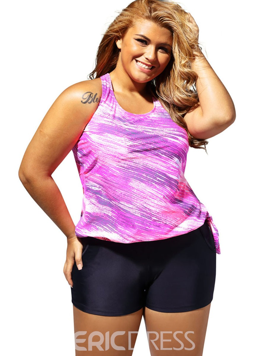 Ericdress Tie-Dye Vest-Type Boyshorts Plus Size Tankini Set