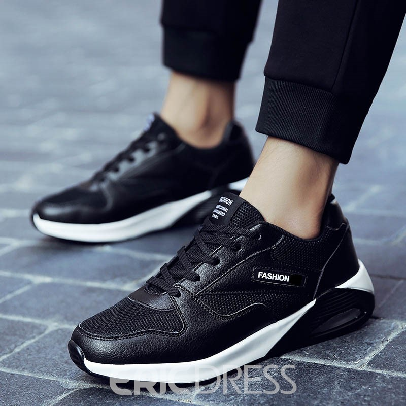 Ericdress Mesh Lace-Up Color Block Men's Athletic Shoes
