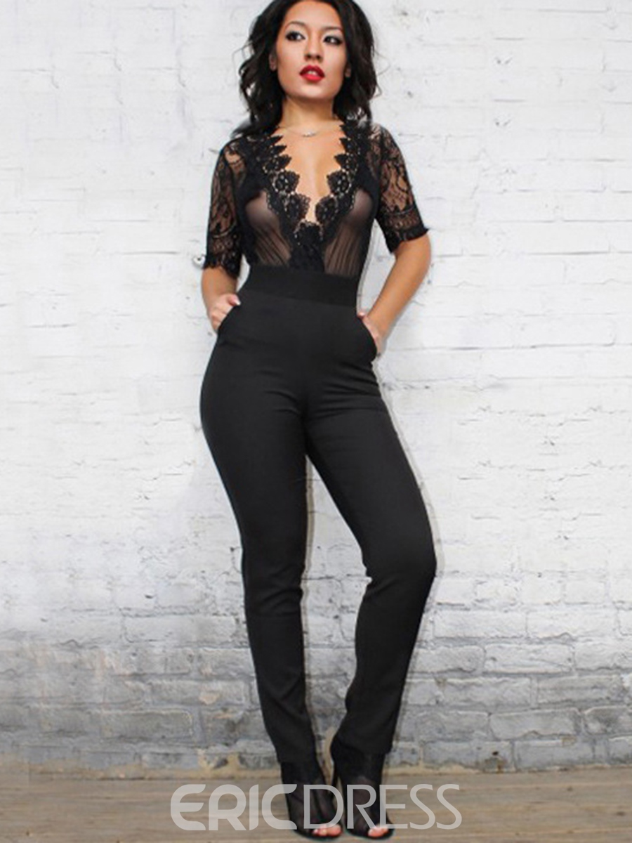Ericdress See-Through Backless Lace Jumpsuits Pants