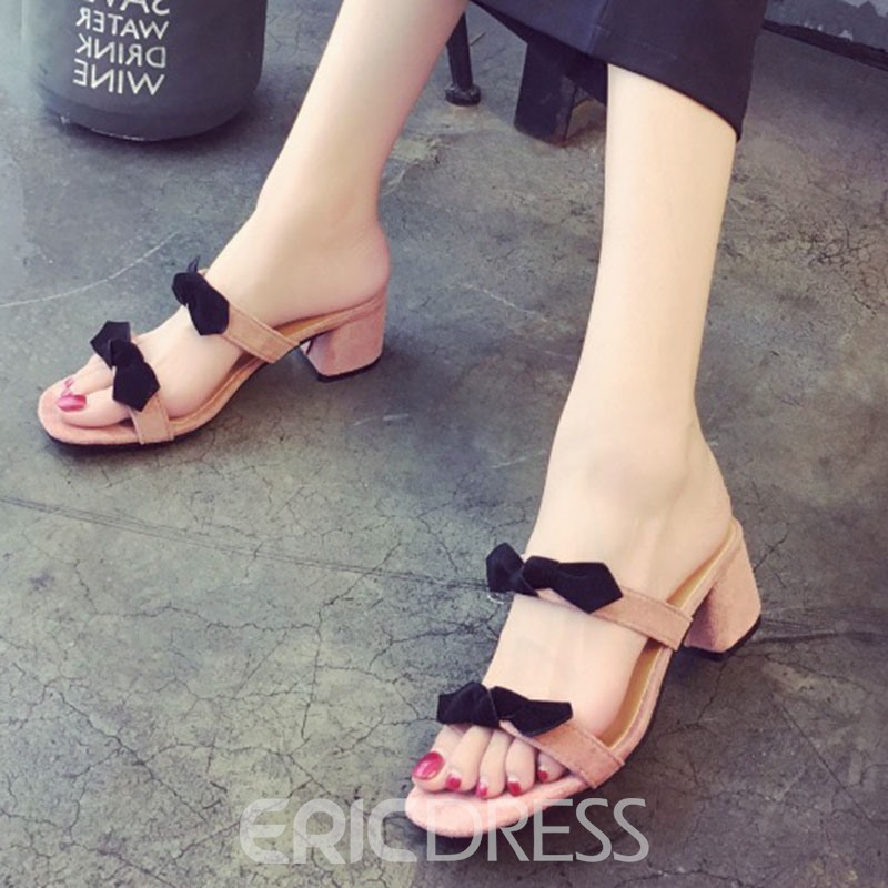 Ericdress Flip Flop Chunky Mules Shoes with Bowknot