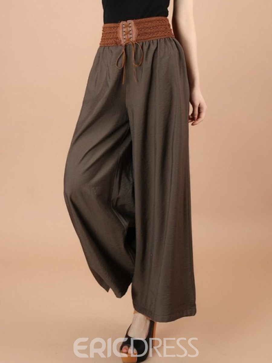 Ericdress Cotton Lace-Up Wide Legs Pants