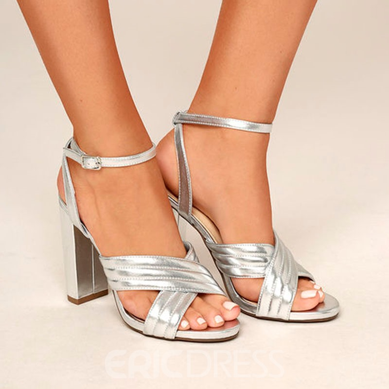 Ericdress Ankle Strap Chunky Heel Sandals