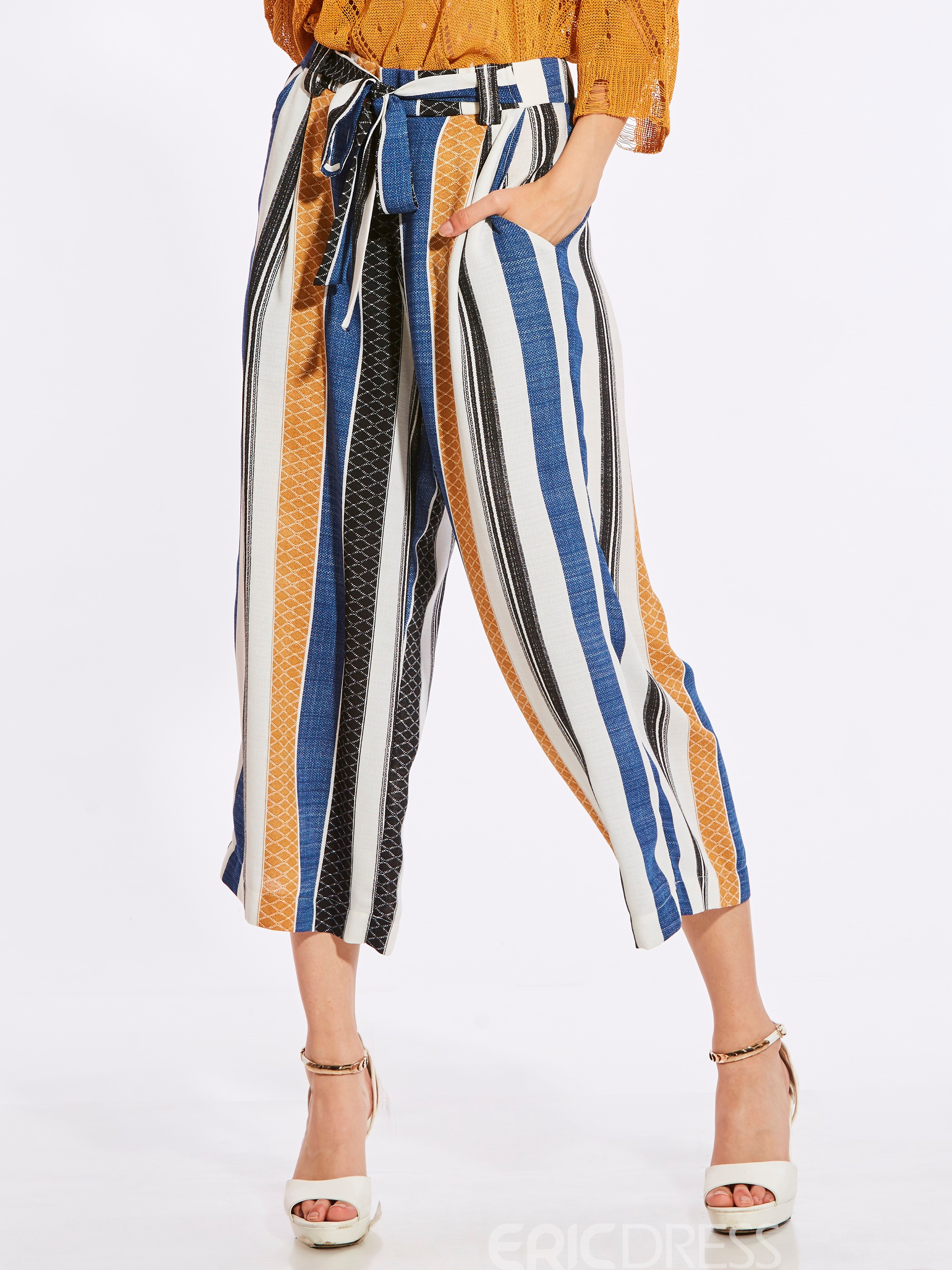 Cropped Color Block Striped Wide Legs Women's Pants