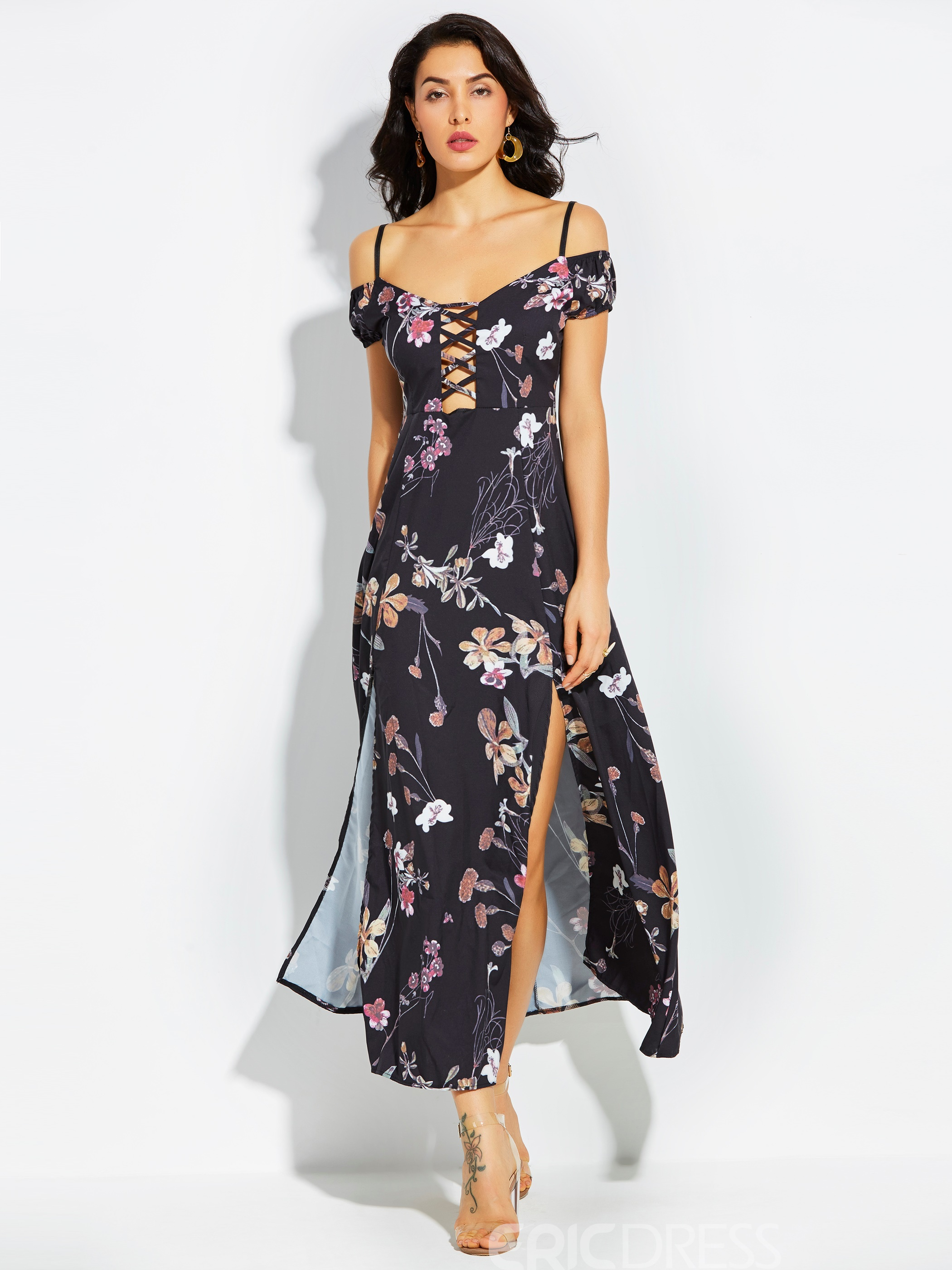 Ericdress Spaghetti Strap Backless Print Maxi Dress
