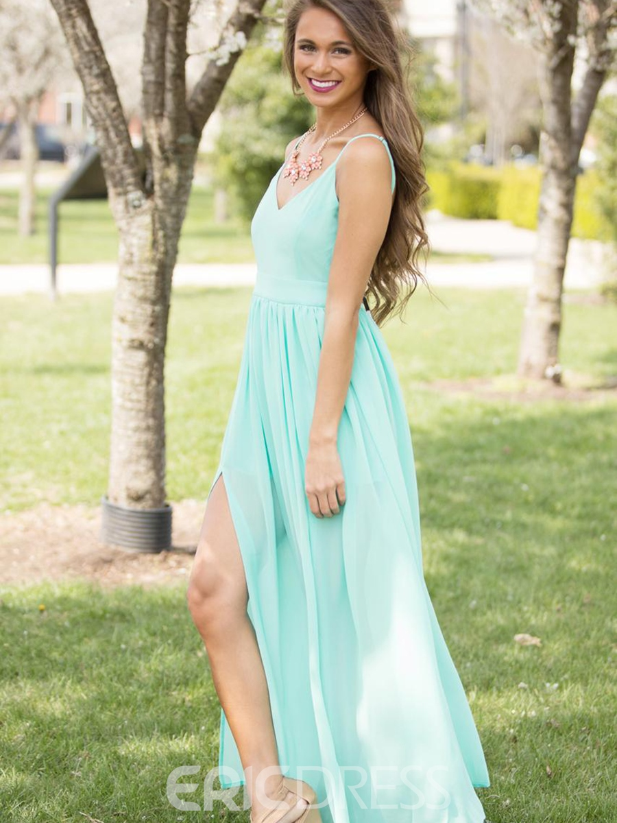 Ericdress Spaghetti Strap V-Neck Backless Maxi Dress