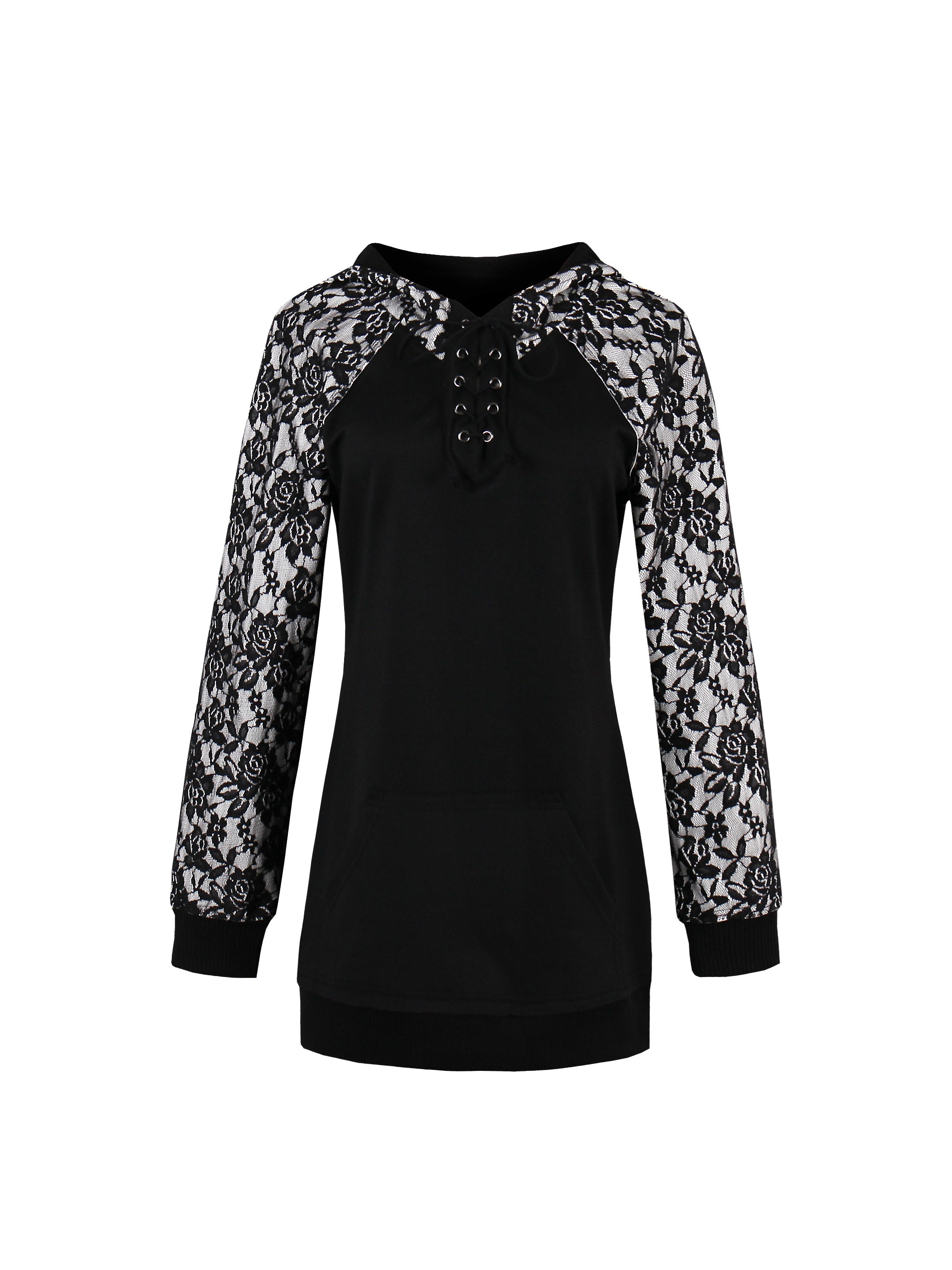 Ericdress Plus-Size Lace Pullover Cool Hoodie