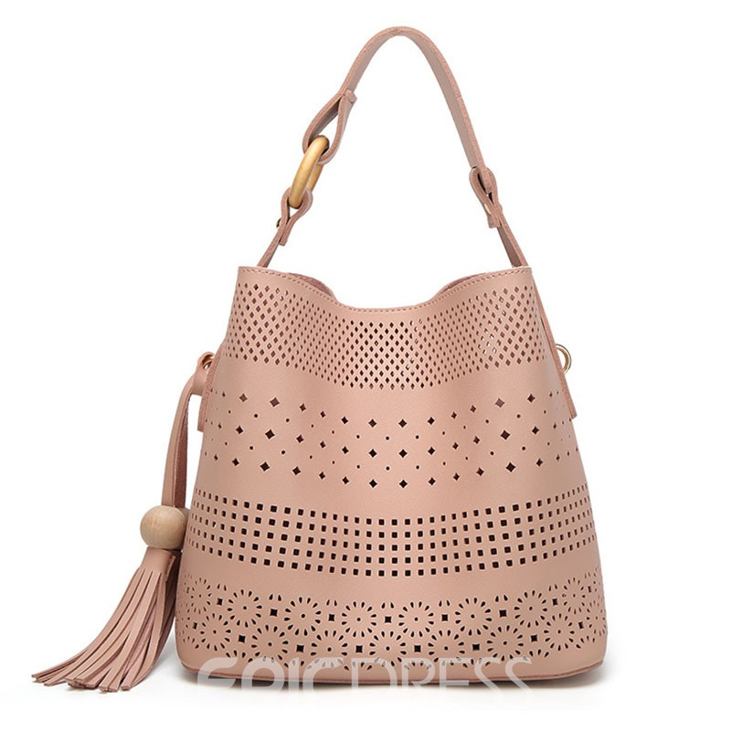Ericdress Solid Color Hollowed Out Bucket Handbag