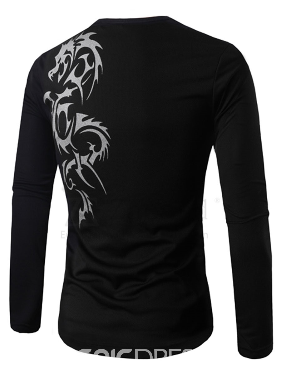 Ericdress Round Collar Sleeve Printed Slim Men's T-Shirt