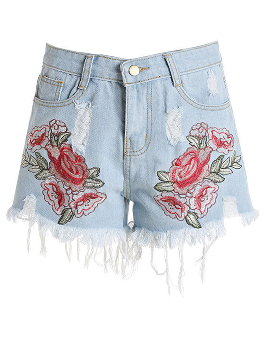 Ericdress Embroidery Floral Tassel Shorts Pants