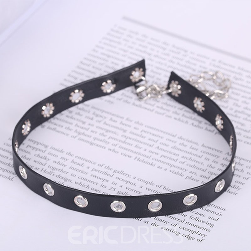 Ericdress New Style Double Layer PU Choker Necklace for Women