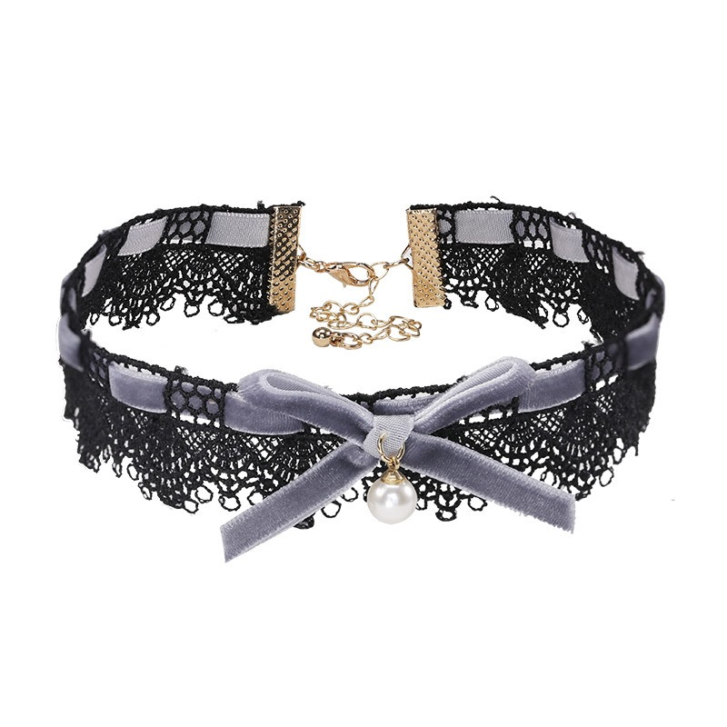 Ericdress Lace Bowtie Pearl Choker Necklace for Women
