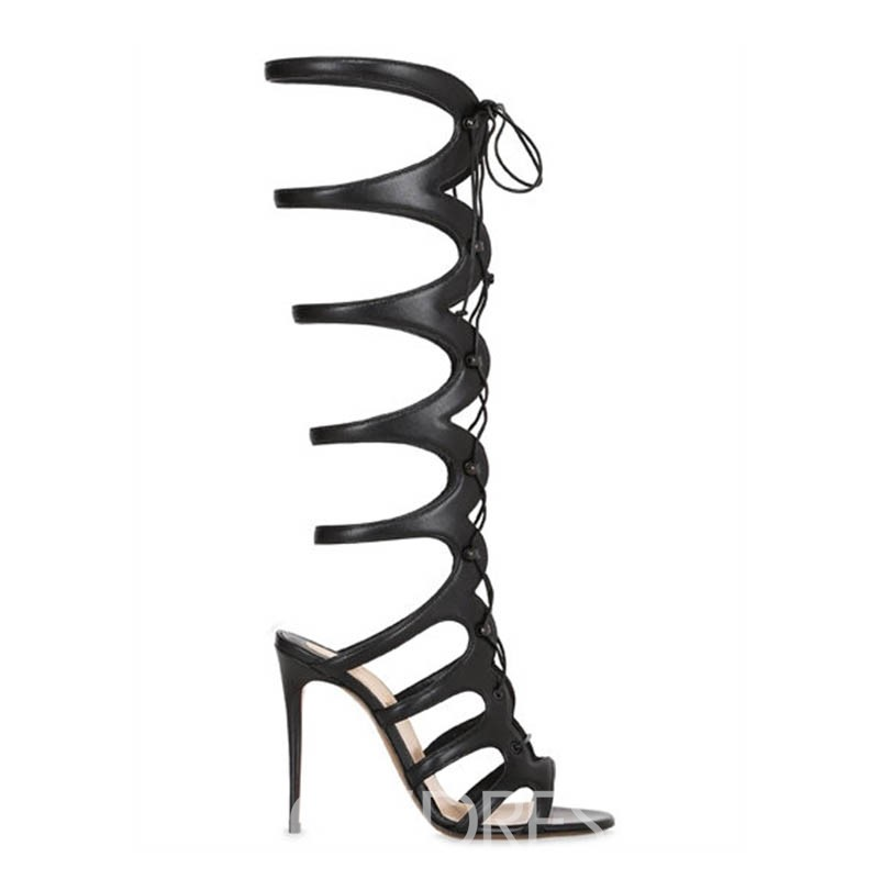 Ericdress Lace-Up Hollow High Shaft Stiletto Sandals