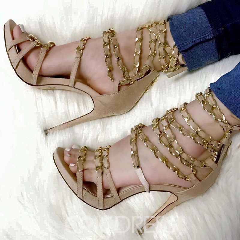 Ericdress Cross Strap Chain Zipper Heel Sandals