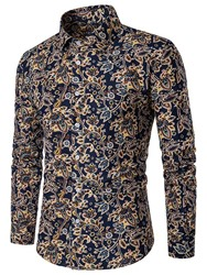 Ericdress Long Sleeve Floral Vogue Slim Mens Shirt
