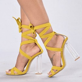 Ericdress Strappy Open Toe Lace-Up Chunky Heel Sandals