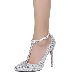 Ericdress Rhinestone T-Shaped Buckle Pointed Toe Plain Wedding Shoes