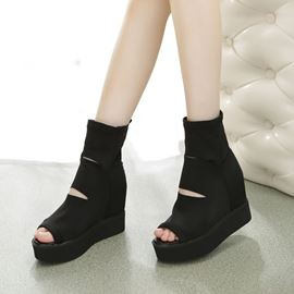 Ericdress Hollow Peep Toe Hidden Elevator Heel Boots