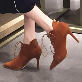 Ericdress Brown Pointed Toe Cross Strap High Heel Boots